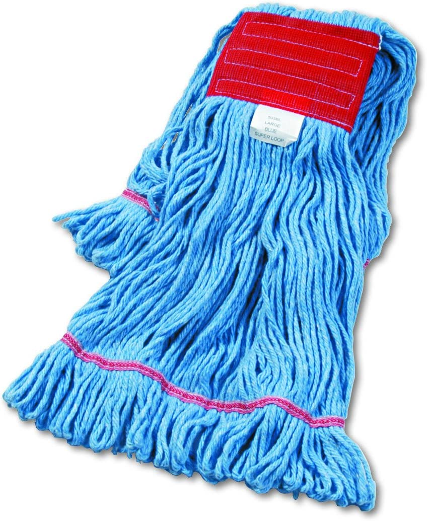 Amazon Com Boardwalk 503blea Su Loop Wet Mop Head Cotton Synthetic Large Size Blue Mop Replacement Heads Office Products