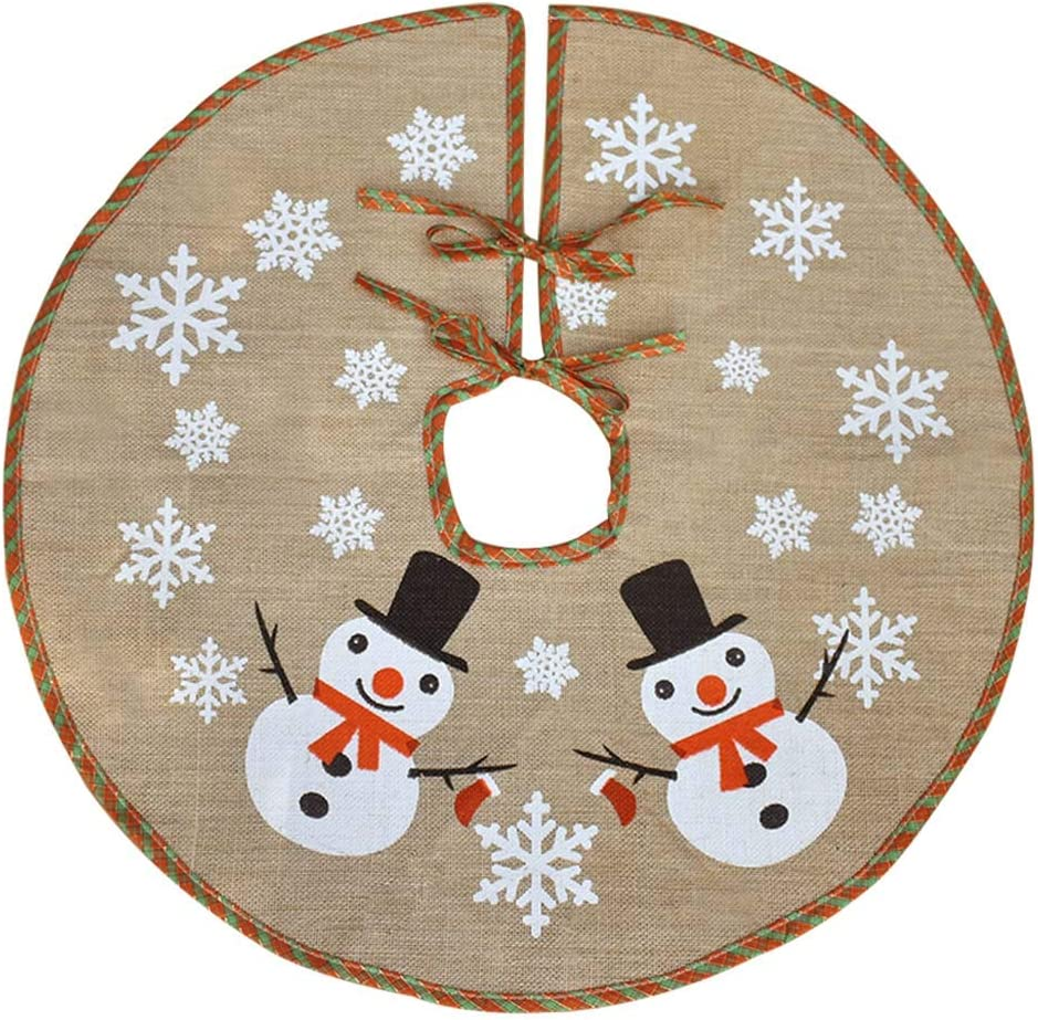 Amazon Com Awtlife 48 Burlap Christmas Tree Skirt Snowman Red And Green Plaid Christmas Holiday Snowflake Tree Skirt Home Kitchen
