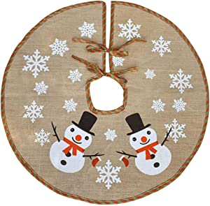 Awtlife Burlap Snowflake Christmas Tree Skirt 30