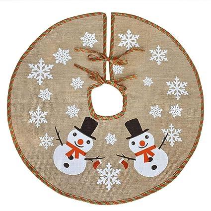 awtlife burlap snowflake christmas tree skirt 30 tree skirt for xmas decor festive holiday decoration