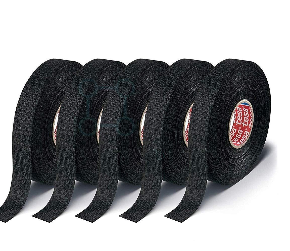 Tesa Black Fuzzy Fleece Interior Wire Loom Harness Tape for VW, Audi, Mercedes, BMW 19 mm X 15 Meters (5 Rolls) by Tesa