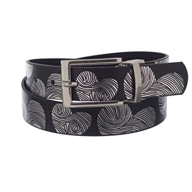 X-CESSOIRE Girls 1 1//8 Heart Print PU leather Belt