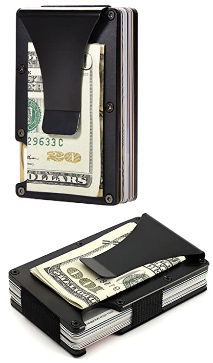 7715bc364c94 Minimalist Slim Wallet, Best RFID Blocking Money Clip, Front Pocket Wallet,  Card Holder, Aluminum Metal, Thin Card Case for Men and Women