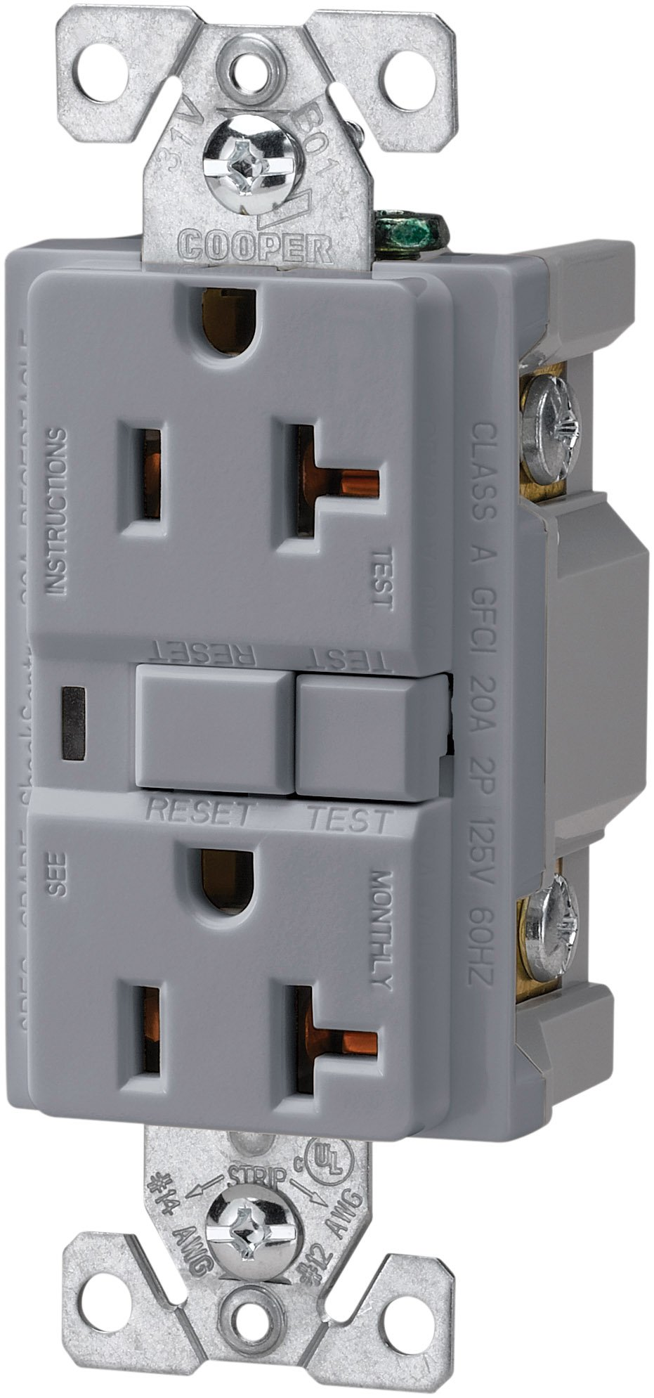 The Eaton VGF20GY 20-Amp 2-Pole 3-Wire 125-Volt Duplex Ground Fault Circuit Interrupter, Gray