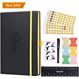 Bullet Journal - Lemome Dotted Numbered Pages Hardcover A5 Notebook with Pen Holder + Premium Thick Paper + Bonus Gifts (Black) Back to School Supplies