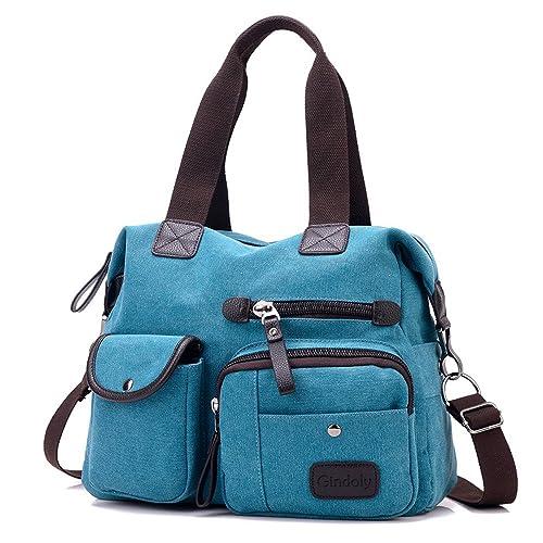 super populaire 11be3 57320 Gindoly Sac à main pour femme, Multi poches Grand sac à bandoulière  fourre-tout Toile Hobo Sacs pour l'école de voyage Shopping et travail