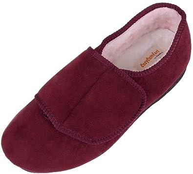 8d6b9989ad06 Ladies   Womens Orthopaedic   EEE Wide Fit Velcro Slipper Boot   Slippers -  Burgundy -