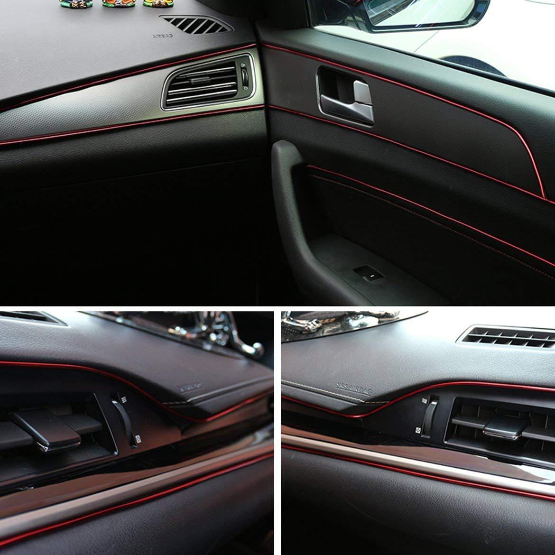 JohnJohnsen 5M Auto-K/örper-Dekoration-Streifen Auto Innenrahmen Finishing Zierleisten Armaturenbrett Adhesive Decorationv rot