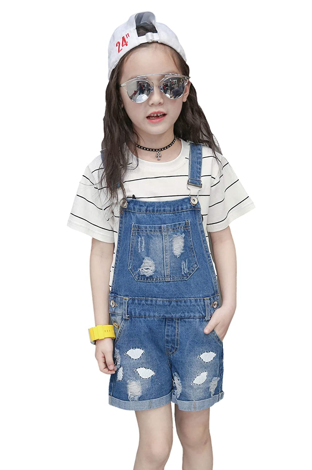 Chumhey Big/&Little Girls 2Pc Big Bib Lips Embroidered Ripped Jeans Shortalls Set