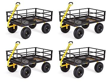 Gorilla Carts GOR1400-COM Carro de herramientas de acero resistente con laterales desmontables y neumáticos de 15 pulgadas, 1400-lb.