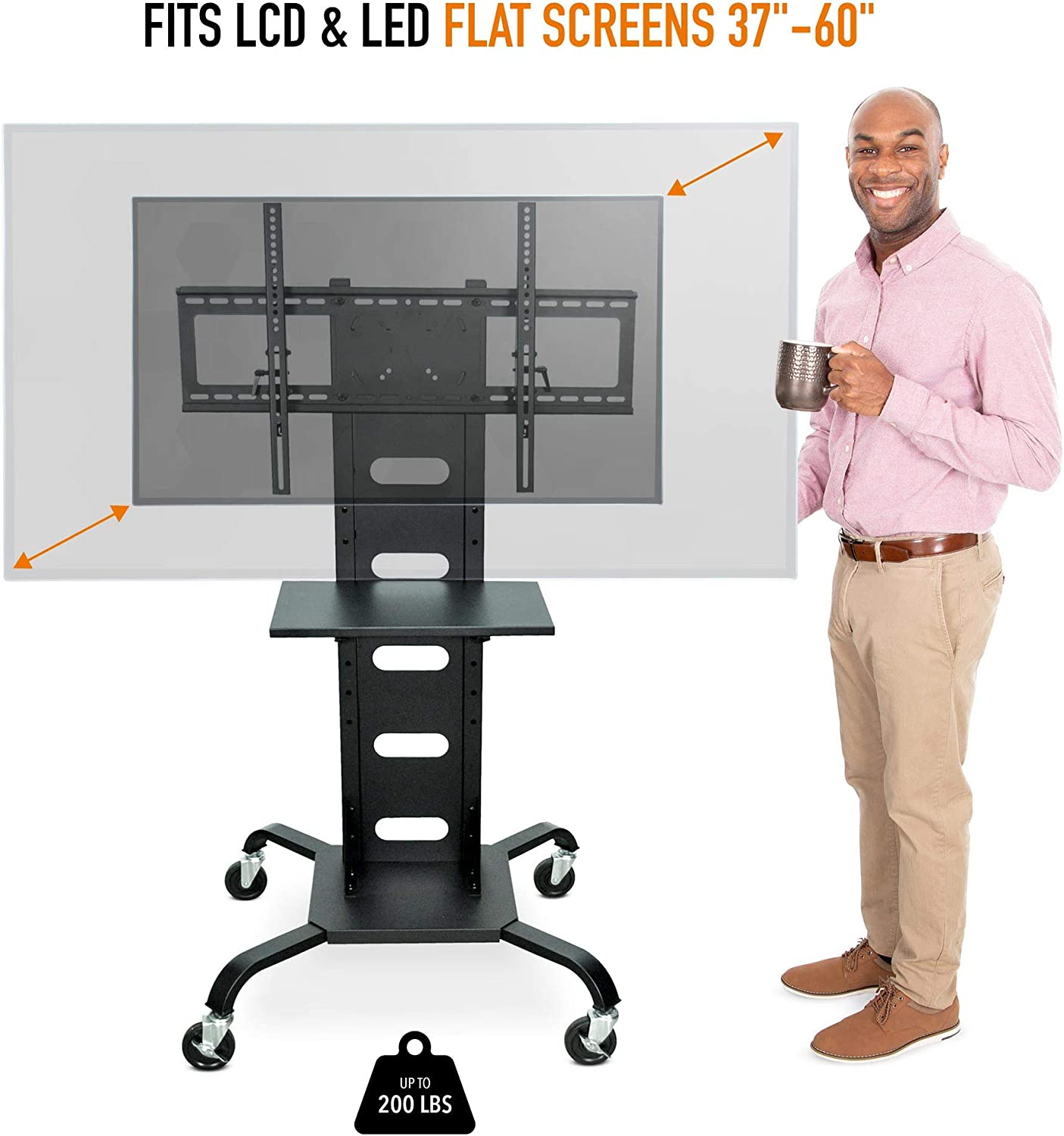 Line Leader Heavy Duty TV Stand | Mobile Television Cart with Locking Wheels & Storage Shelf | Tilting VESA Mount - Supports LCD & LED Flat Screen TVs from 37 Inches to 60 Inches : Electronics
