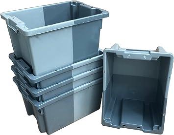 Pack de 5 x 16 litros gris pequeño apilado/nido 180º caja de almacenamiento de plástico contenedor caja de almacenamiento – 400 x 300 mm Euroapilable/resistencia industrial anidable: Amazon.es: Bricolaje y herramientas