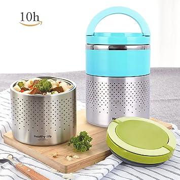 homespon vacío Lunch Box acero inoxidable alimentos Jar 2 niveles contenedor termo para alimentos térmico almuerzo ...