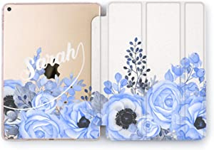 Wonder Wild Case Compatible with Apple iPad Blue Flowers Custom 5th 6th Gen Mini 1 2 3 4 Personalized Name Air 2 Pro 10.5 12.9 11 10.2 9.7 inch Stand Cover Initials Unique Floral Letters Protective