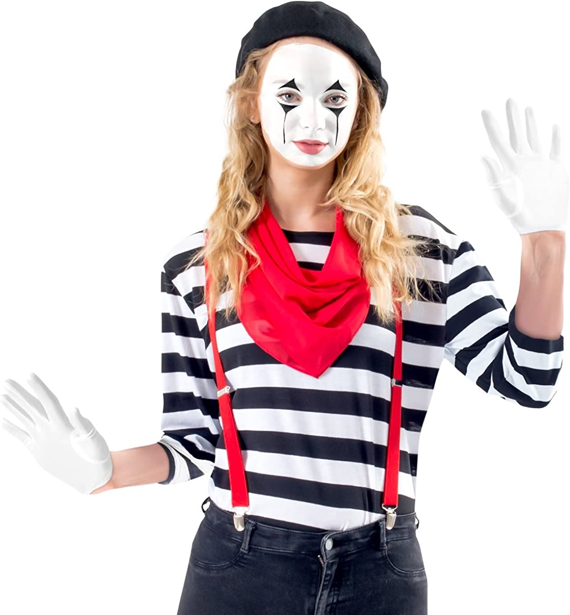 Amazon.com: De la Mujer Mime Costume Set con maquillaje Kit ...