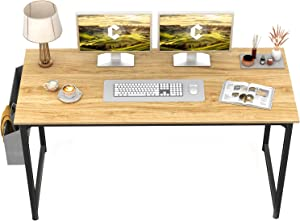 """CubiCubi Computer Desk 55"""" Study Writing Table for Home Office, Modern Simple Style PC Desk, Black Metal Frame, Walnut"""