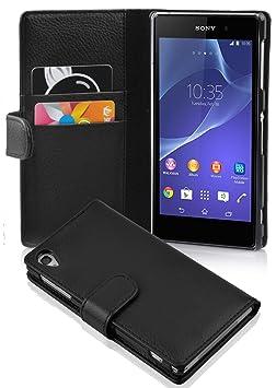 Cadorabo Hülle für Sony Xperia Z2 - Hülle in OXID SCHWARZ – Handyhülle mit Kartenfach aus struktriertem Kunstleder - Case Cov