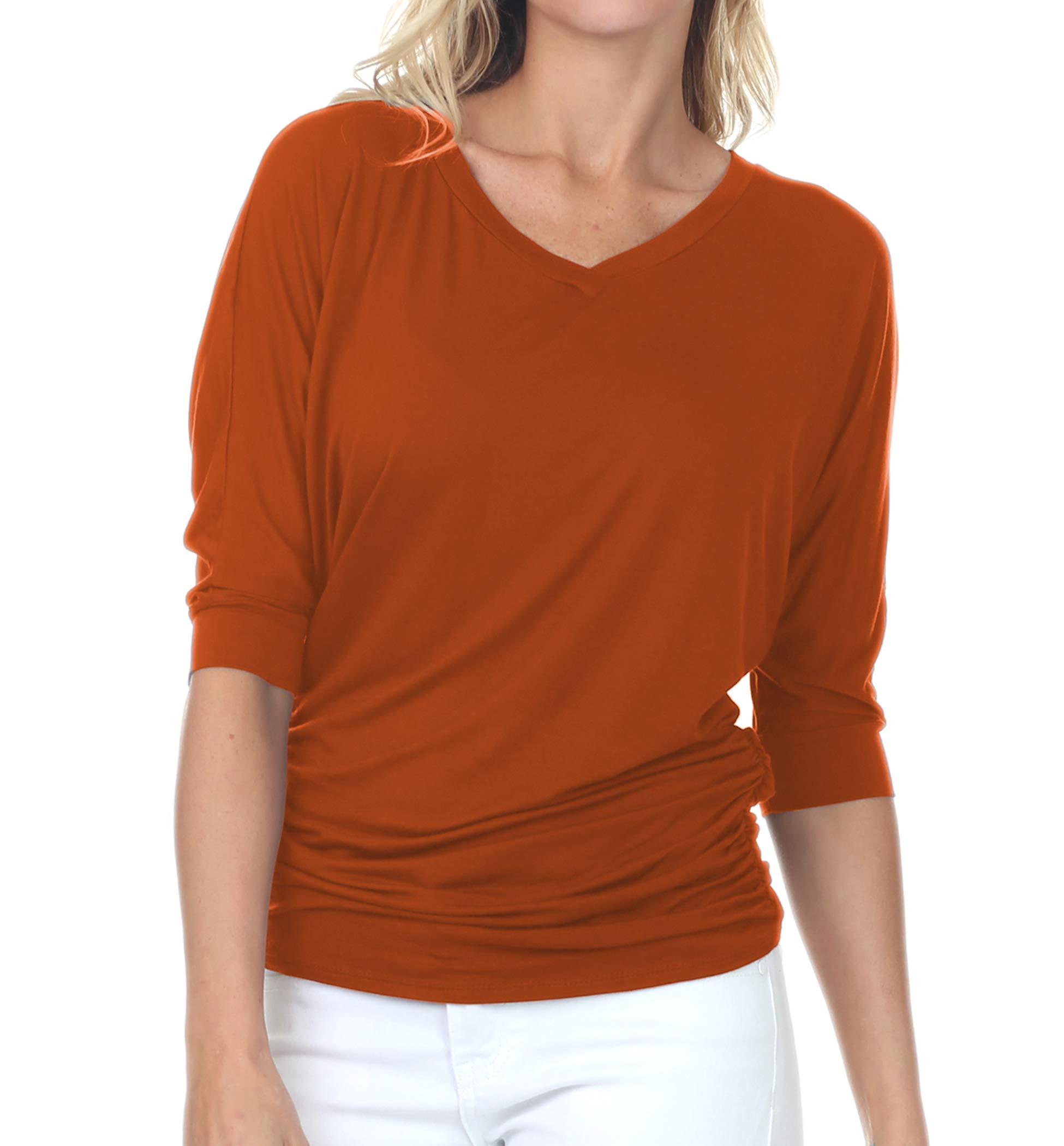 iliad USA Womens V-Neck/Boat Neck 3/4 Dolman Sleeve Side Shirring Drape Basic Top Regular & Plus Size