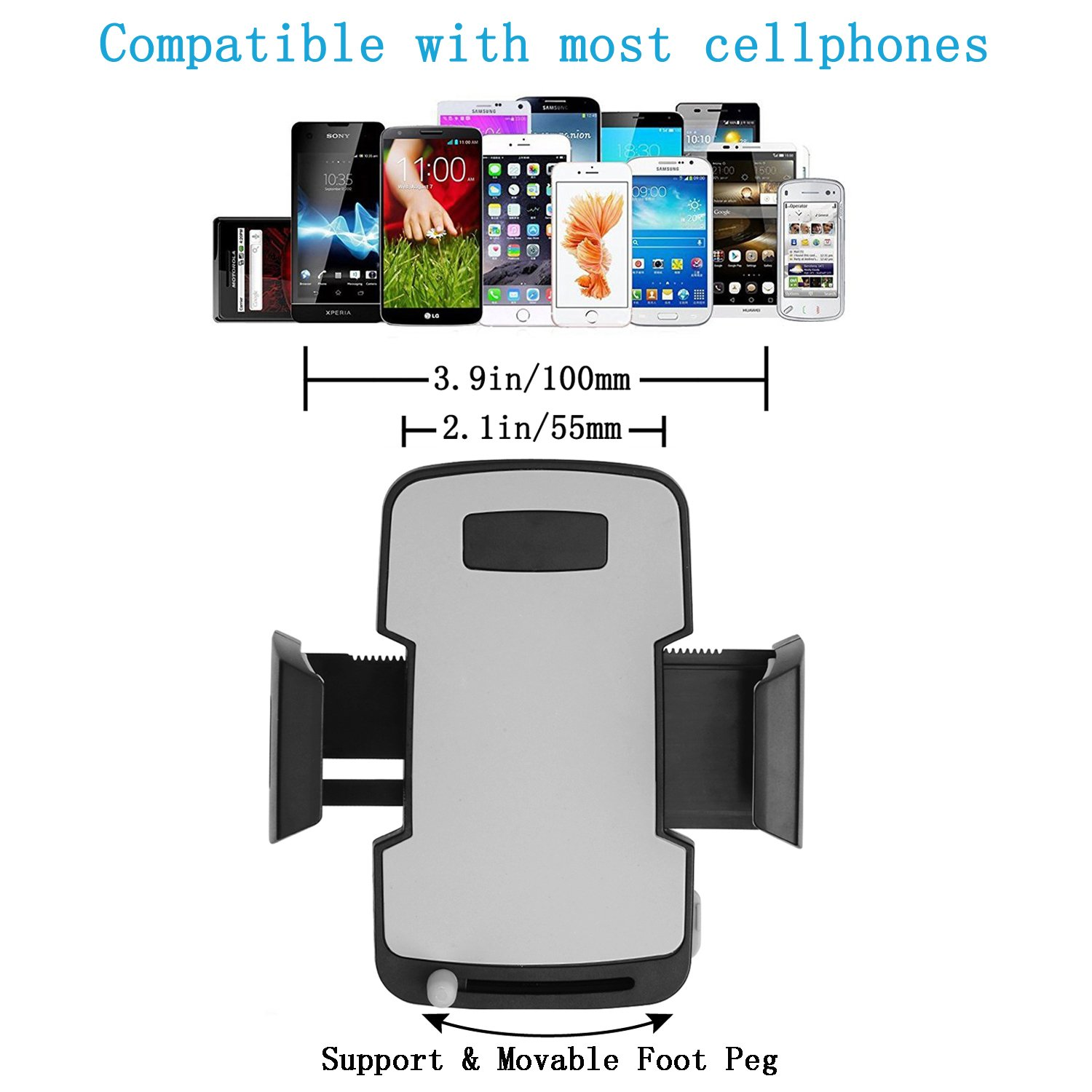 Upgrade Version Car Mount HANA Universal Flexible Long Arm Windshield Dashboard Car Mount Holder Cradle with Adjustable Clamp and Circular Dashboard Base for All Smartphones 3.5-6.0 inches 4326593356