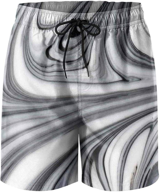 LHSKH Black Marble Nature Stone Color Mens Swim Trunks Elastic Waist Boardshorts for Men Vintage Mens Swim Shorts