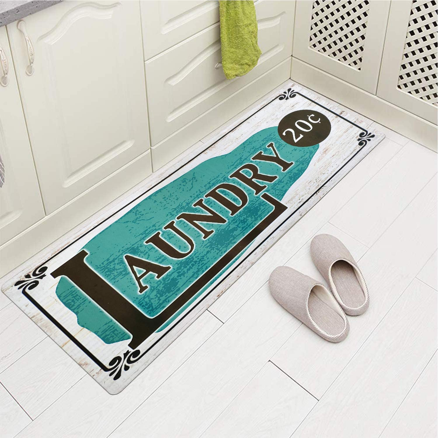 Satbuy Laundry Rug, Non Skid Laundry Room Wash House Mat Waterproof Floor Runners for Bath Room 20''x59''