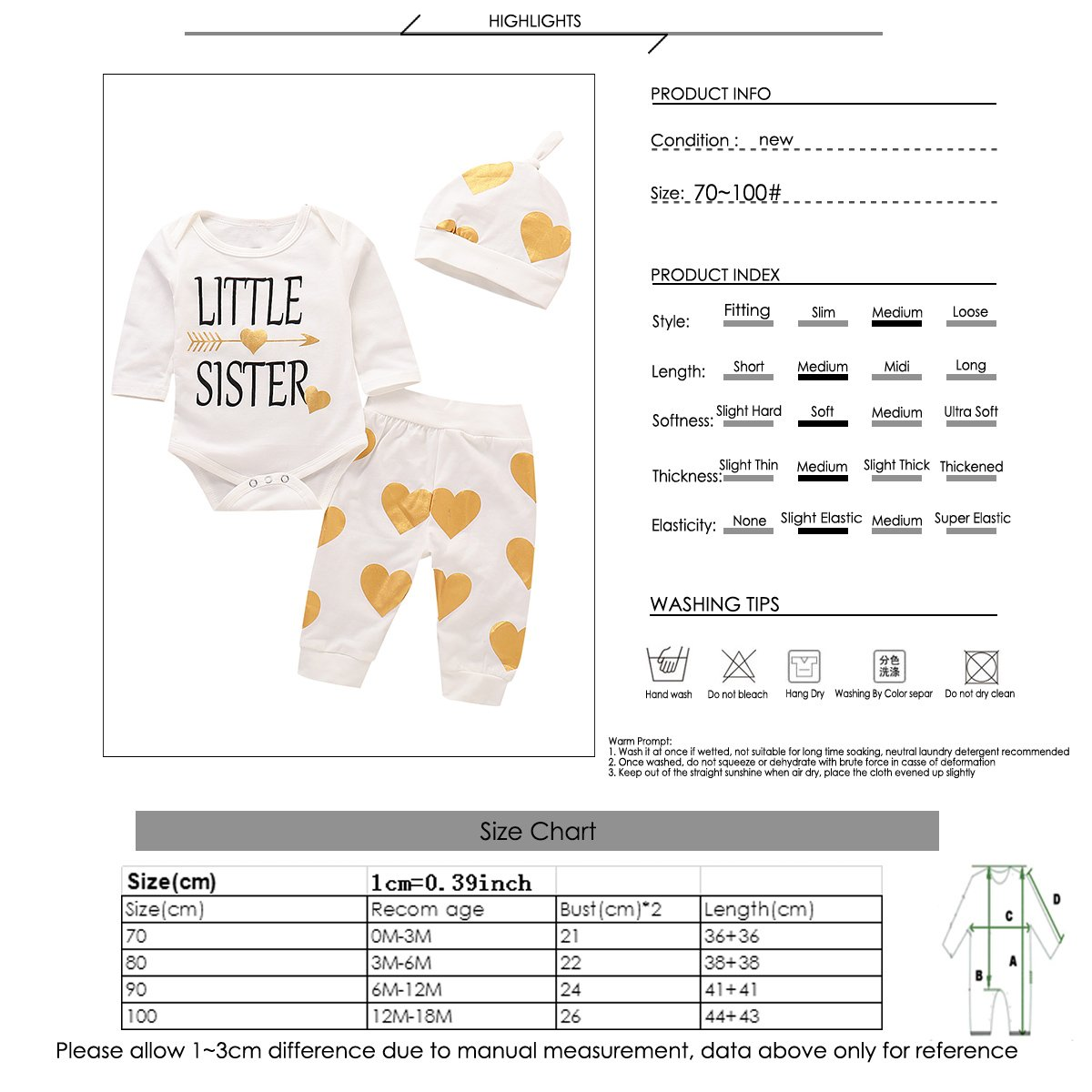 puseky Baby Little Sister Long Sleeve Love Hearts Romper Pant Hat Clothes Set
