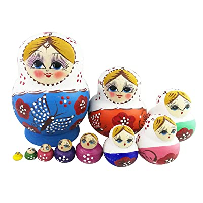 Set of 10 Cutie Lovely Colorful Butterfly Blue Wooden Nesting Dolls Matryoshka Russian Doll Popular Handmade Kids Girl Gifts Toy