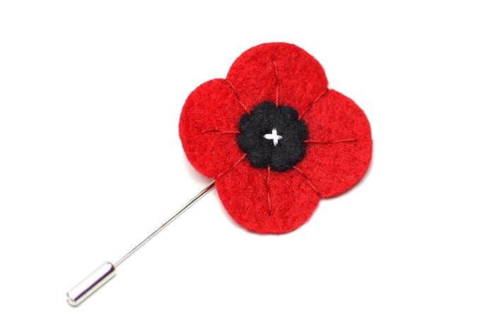 Amazon Mellys Bow Mens Red Poppy Wool Felt Lapel Flower Pin