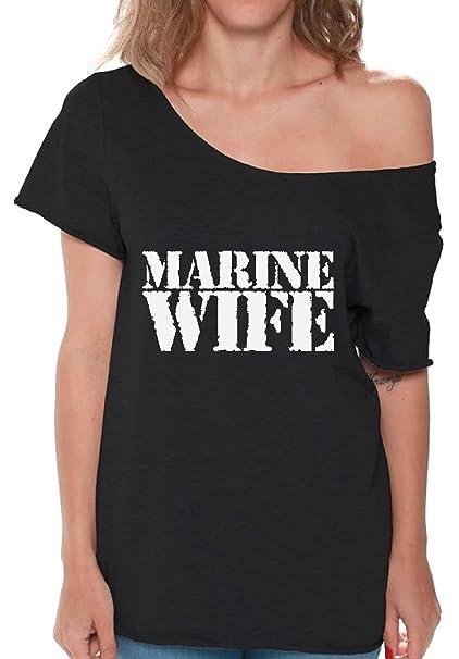 30c0be2b Pekatees Marine Wife Off Shoulder Shirt Marine Wife Flowy Top For Women Proud  Marine Wife Shirt