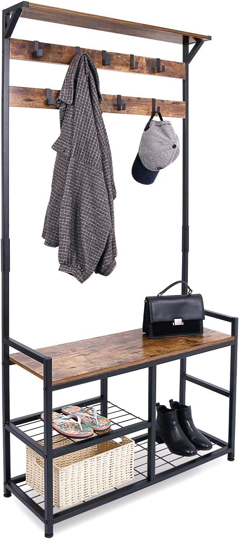 Amazon.com: HOMEKOKO Coat Rack Shoe Bench, Hall Tree Entryway