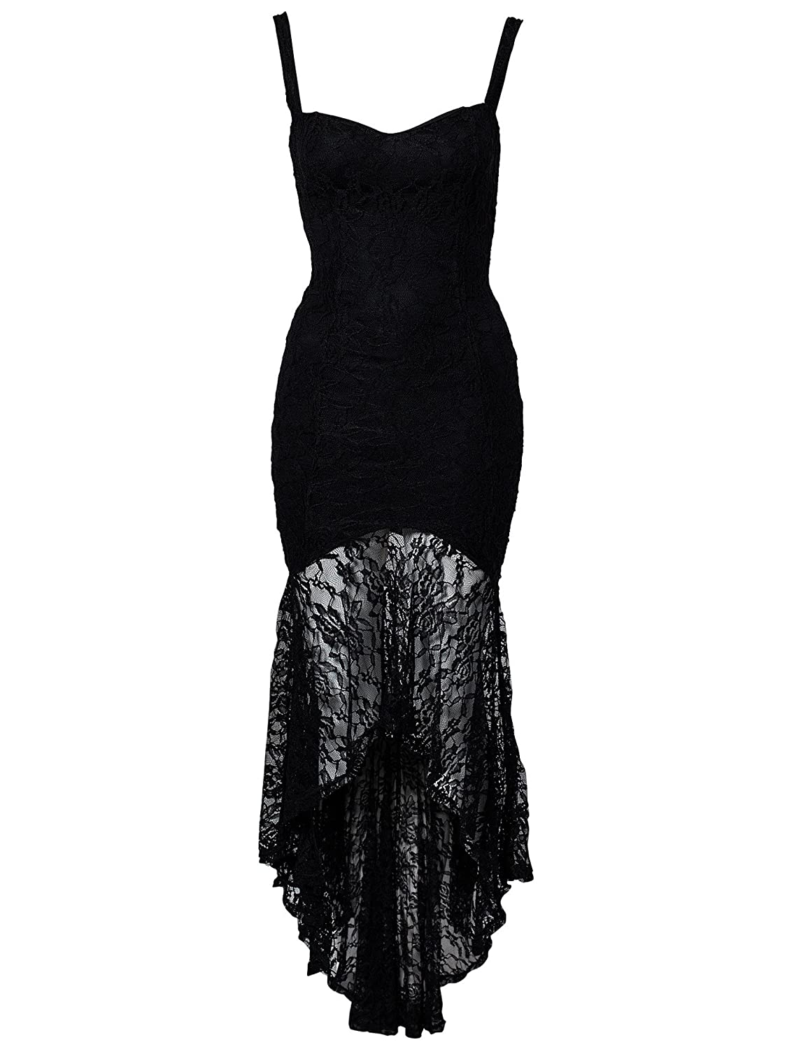 Amazon.com: made2envy Lace Overlay Fishtail Dress (L, Black) 7978BL: Clothing