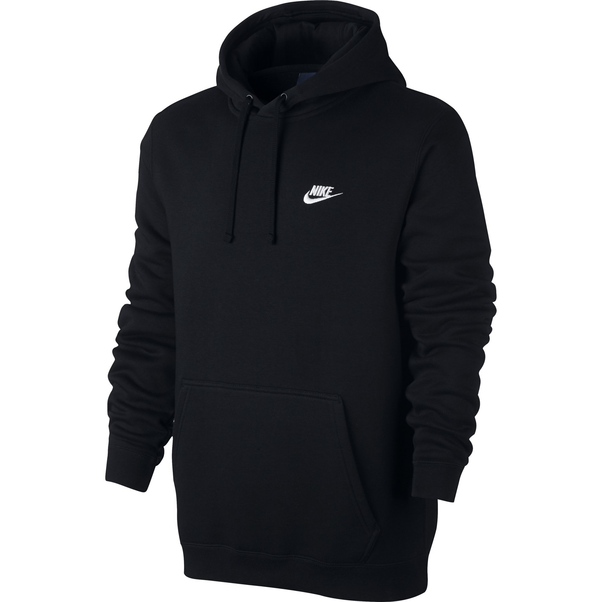 NIKE Sportswear Men's Pullover Club Hoodie, Black/Black/White, Large