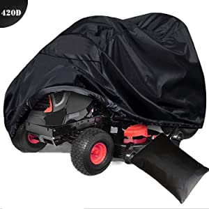 """szblnsm Outdoors Lawn Mower Cover -Tractor Cover Fits Decks up to 54"""" Storage Cover Heavy Duty 420D Polyester Oxford, UV Protection Universal Fit Cover Storage Bag"""
