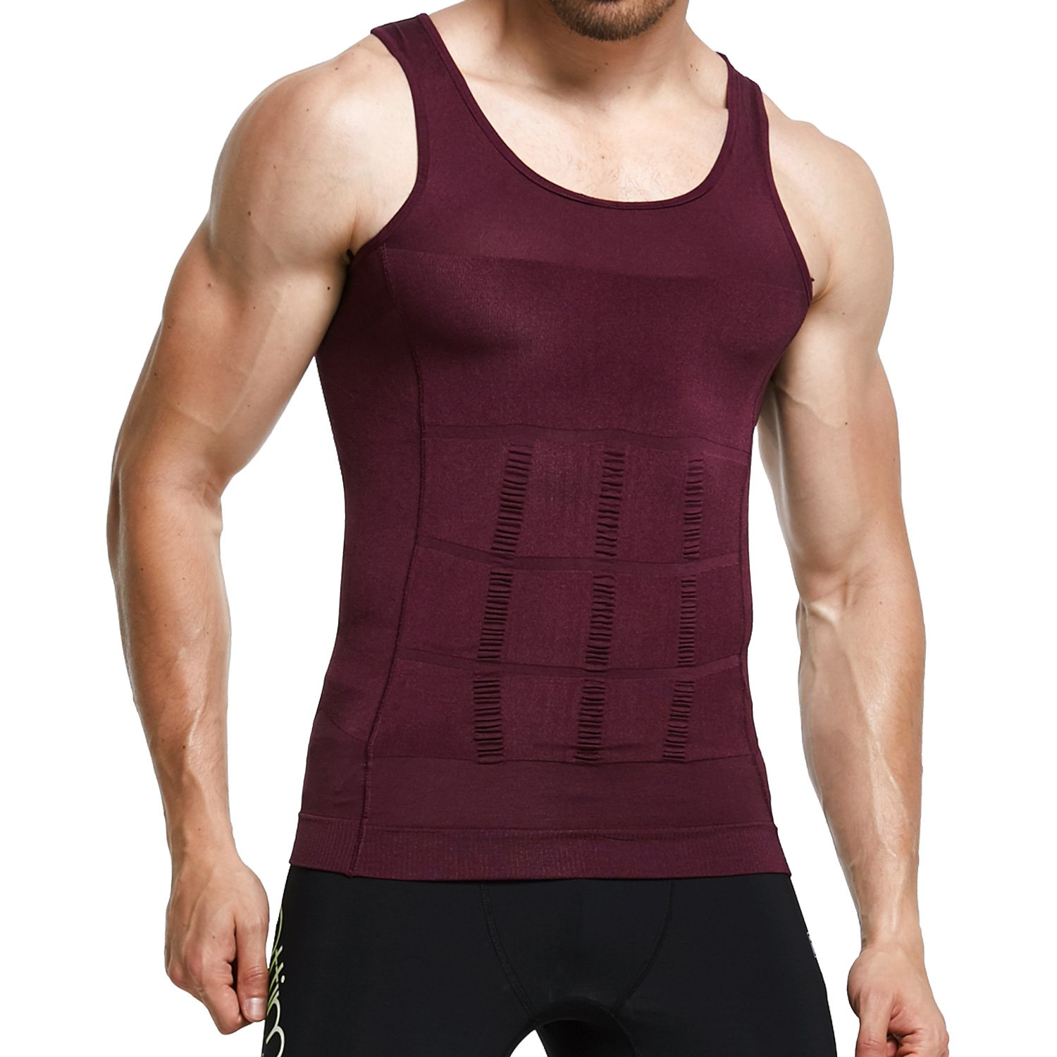 GKVK Mens Slimming Body Shaper Vest Shirt Abs Abdomen Slim, Purple, XL(chest size 106cm-110cm/42inches-44inches)
