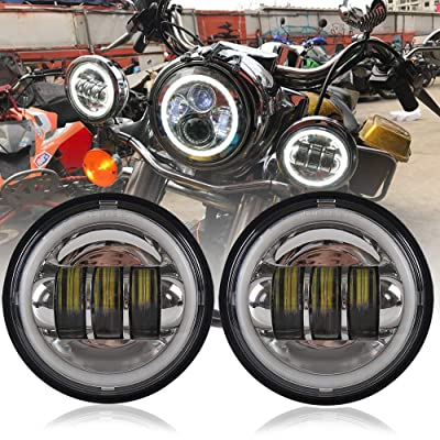 Athiry 1 Pair Chrome 4-1/2 4.5 inch Round Led Fog Lights With White DRL Halo Ring For Road King, Night Train Motorcycles Auxiliary Driving Passing Lights: Automotive