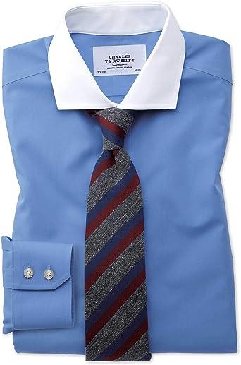 Charles Tyrwhitt Camisa sin Plancha Winchester Azul Slim fit con Cuello Italiano: Amazon.es: Ropa y accesorios