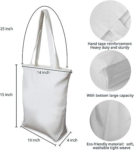 Insternet White Cotton Canvas Tote Bags Reusable Canvas Bags