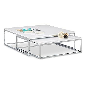 Couchtisch metall weiß  Relaxdays Couchtisch Holz FLAT 2er Set weiß lackiert HBT 27 x 80 x ...