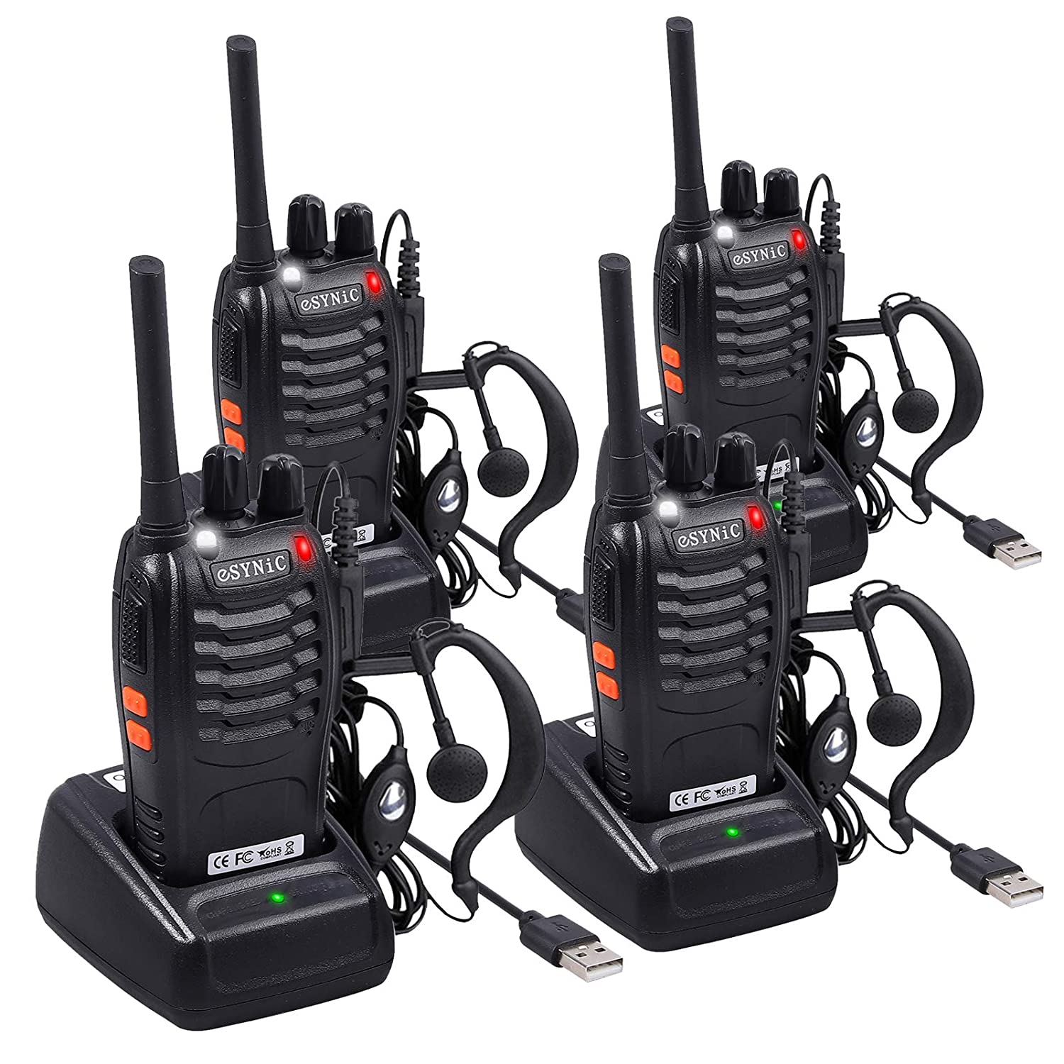eSynic 4 pcs Rechargeable Walkie Talkies with Earpieces Long Range Two-Way Radio 16 Channel UHF with Flashlight walky Talky Handheld Transceiver USB Charging Included