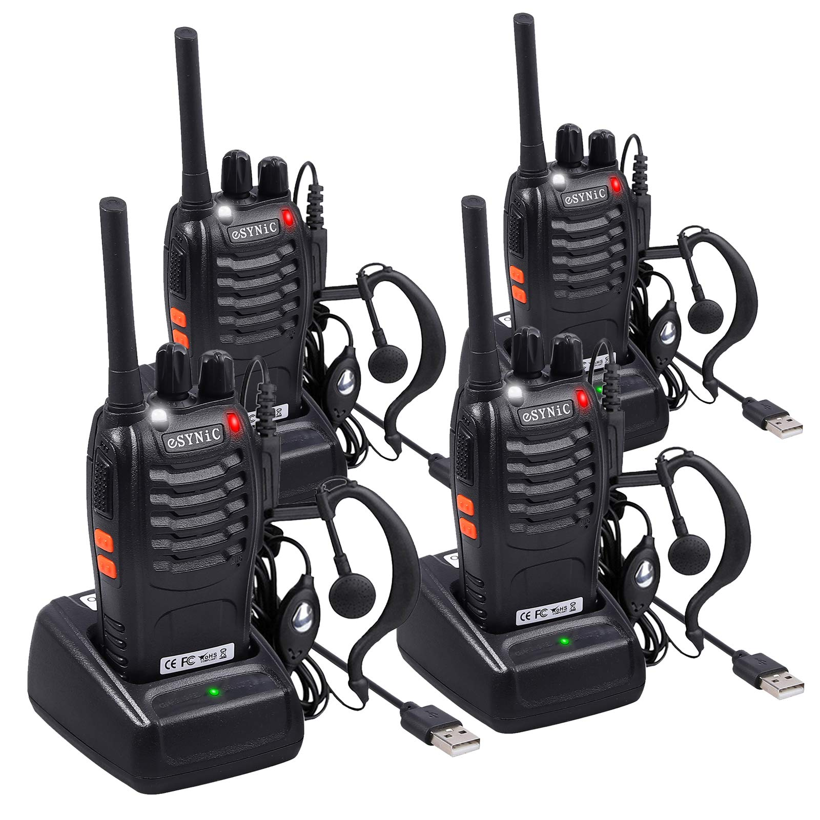 eSynic 4 pcs Rechargeable Walkie Talkies with Earpieces Long Range Two-Way Radio 16 Channel UHF with Flashlight walky Talky Handheld Transceiver USB Charging Included by eSynic