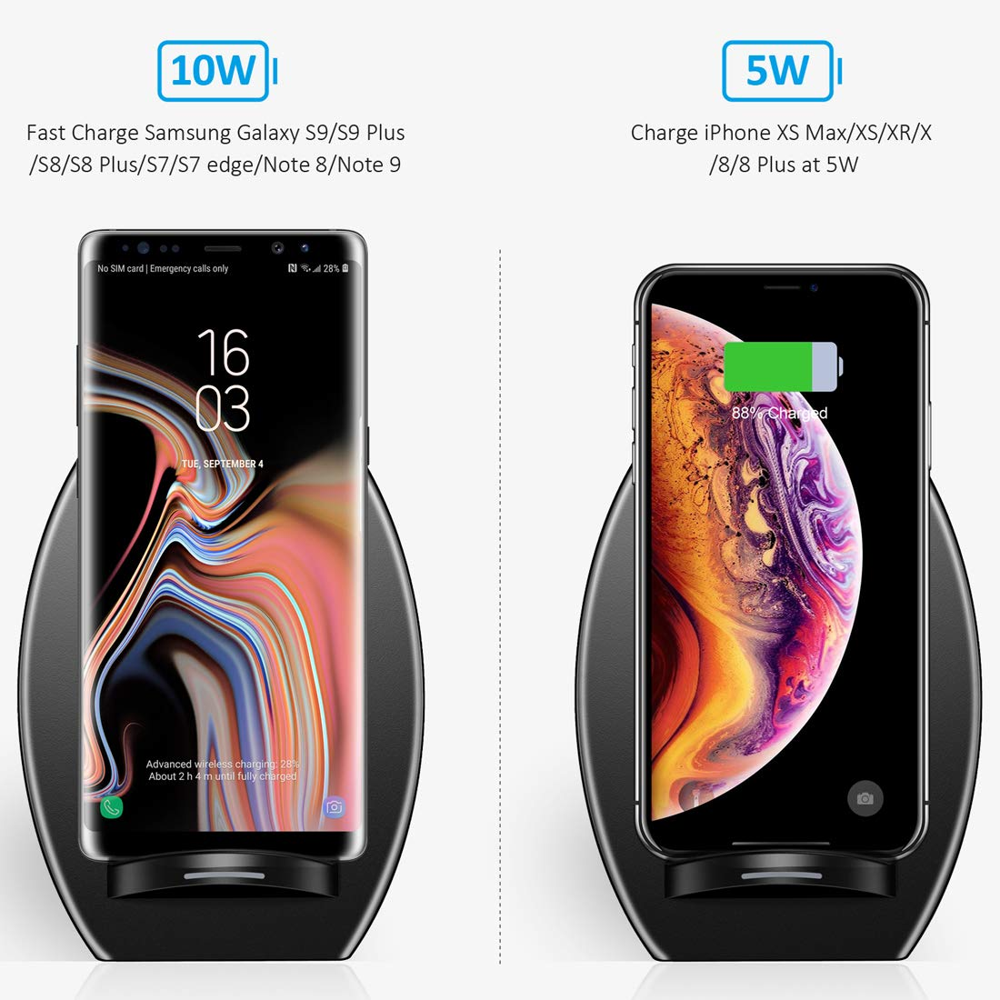 iPhone X,Galaxy Note 8//S8//S8 Plus//S7//S7 Edge//S6 Edge Plus CHOETECH Cargador Inal/ámbrico R/ápido Qi Soporte Wireless Charger Carga R/ápida con Ventilador de refrigeraci/ón para iPhone 8//8 Plus