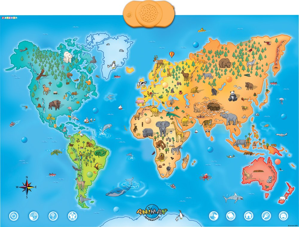 Amazoncom Zanzoon Animap Interactive Talking Animals Of The - World interactive map
