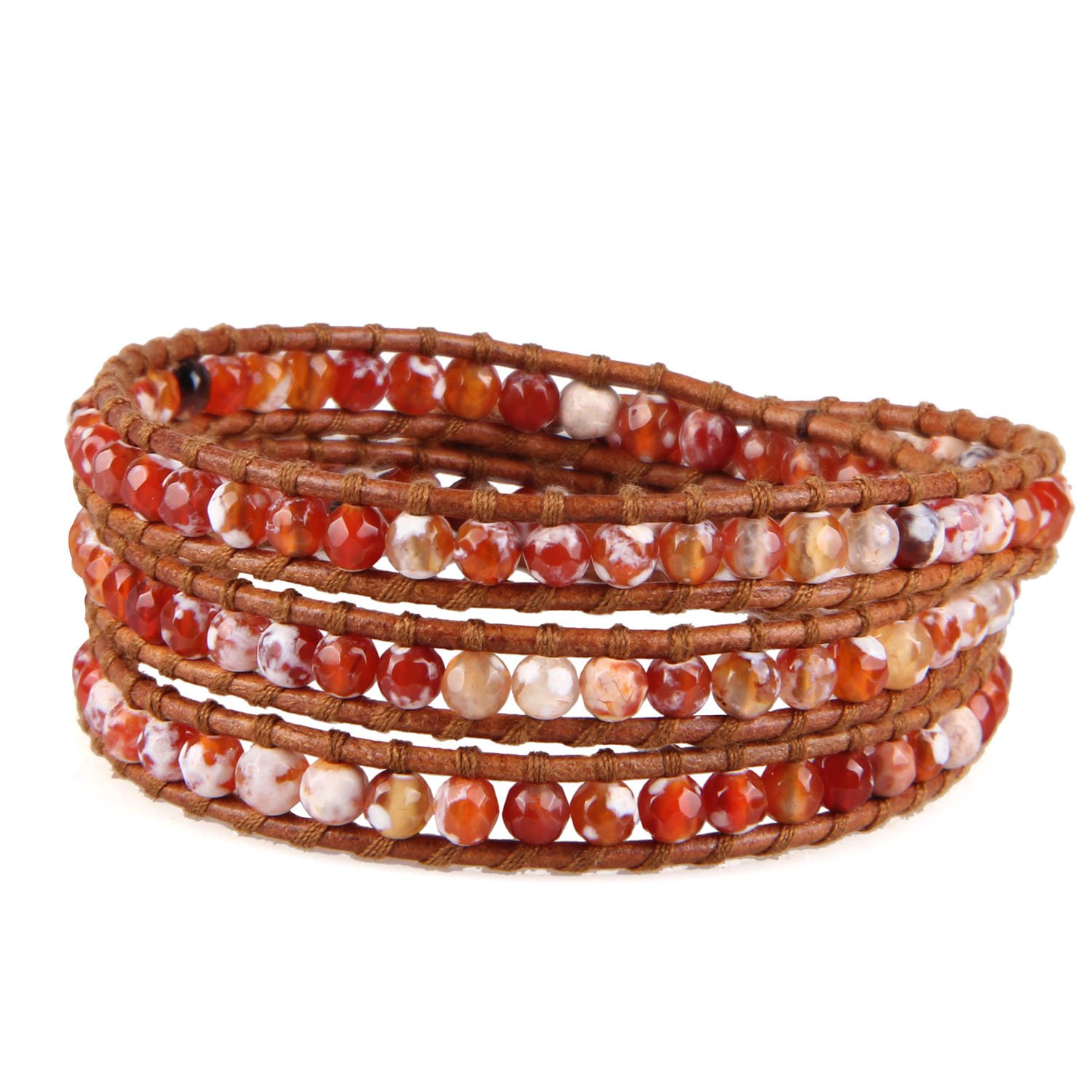 KELITCH Fire Agate Beads on Genuine Leather 3 Wrap Bracelet Handmade New Charm Summer Jewelry