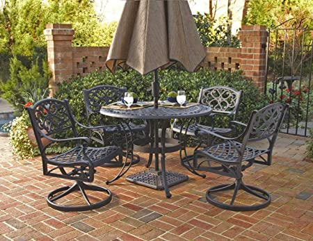 Biscayne Black 5-Piece Outdoor Dining Set with 4 Swivel Chairs by Home Styles