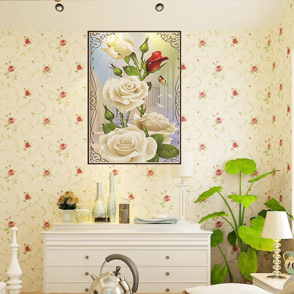 TianMai Hot New DIY 5D Diamond Painting Kit Crystals Diamond Embroidery Rhinestone Painting Pasted Paint by Number Kits Stitch Craft Kit Home Decor Wall Sticker 30x40cm White Rose Flower