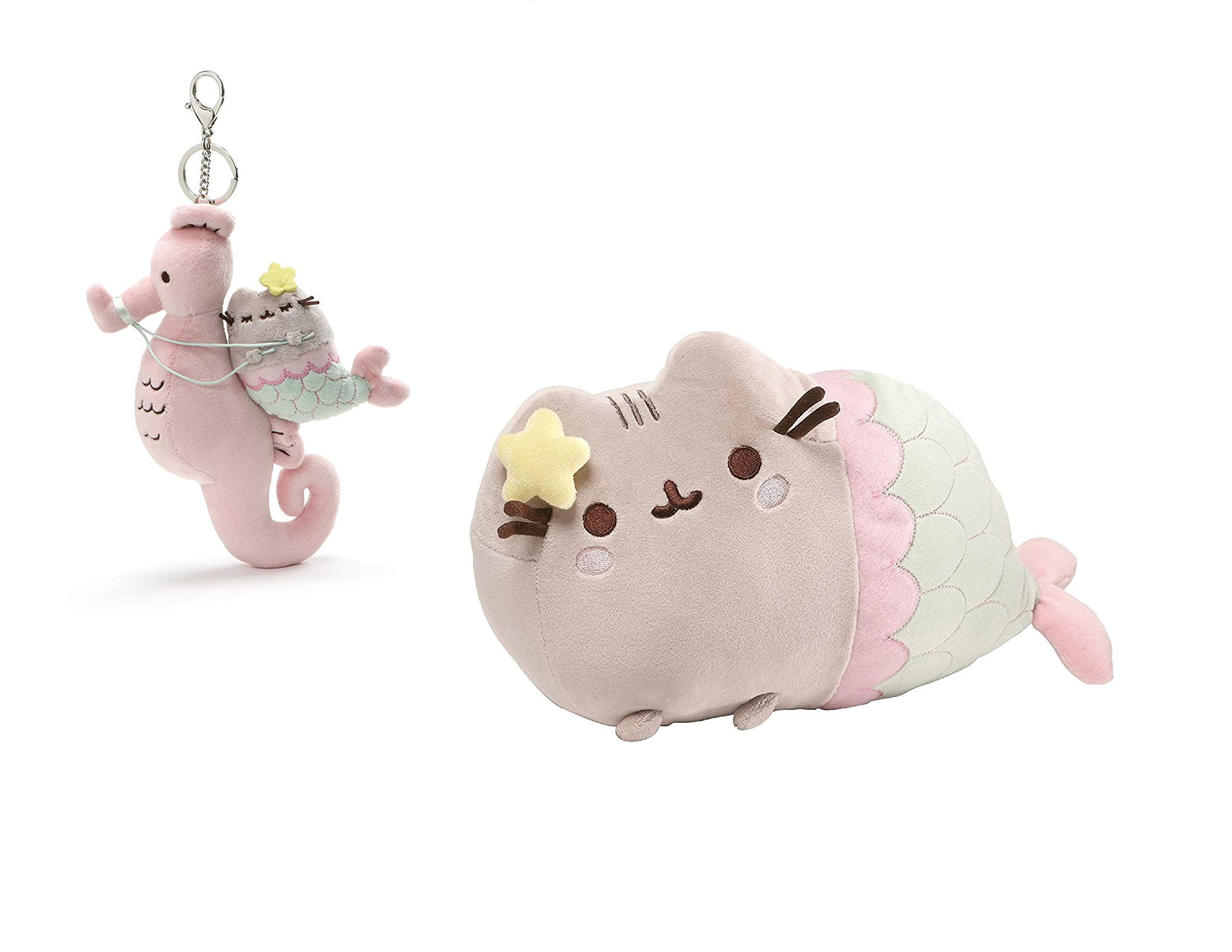 GUND Bundle of 2 Pusheen Mermaids: 12 Inch Pastel Plush Mermaid and 8.5 Inch Pusheen Mermaid and Seahorse Deluxe Keychain by GUND