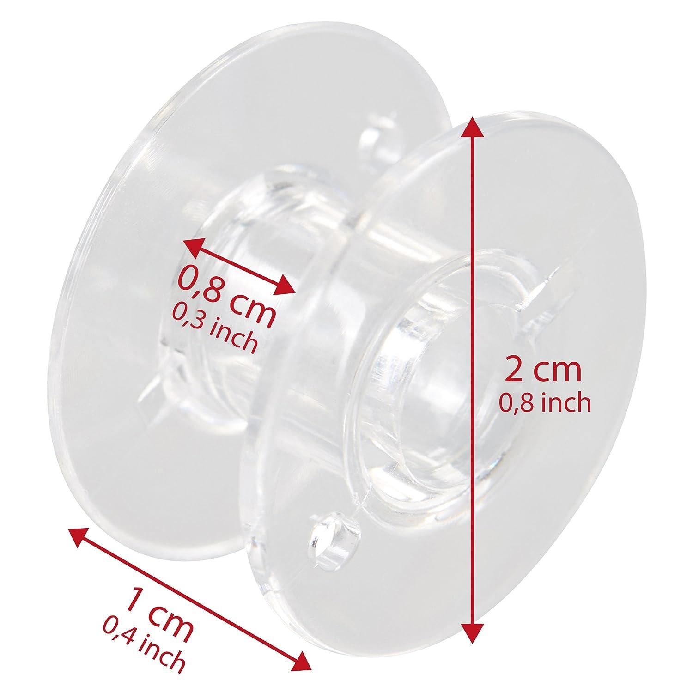 Levivo Bobina para máquina de coser, transparente, 10 bobinas de plástico, bobina de hilo inferior para máquinas de coser usuales, transparentes: Amazon.es: ...