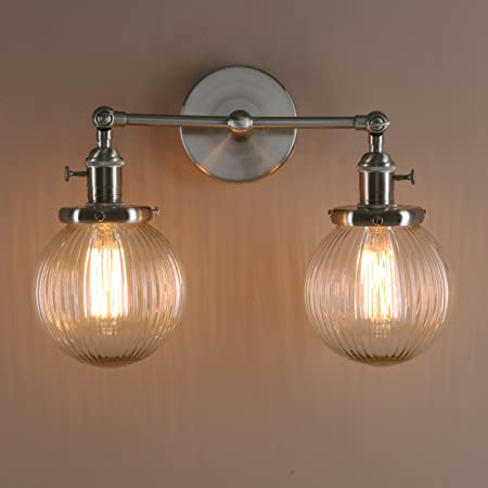 Pathson industrial modern vintage double sconce wall lights loft pathson industrial modern vintage double sconce wall lights loft bar kitchen wall lamp fixture with aloadofball Images