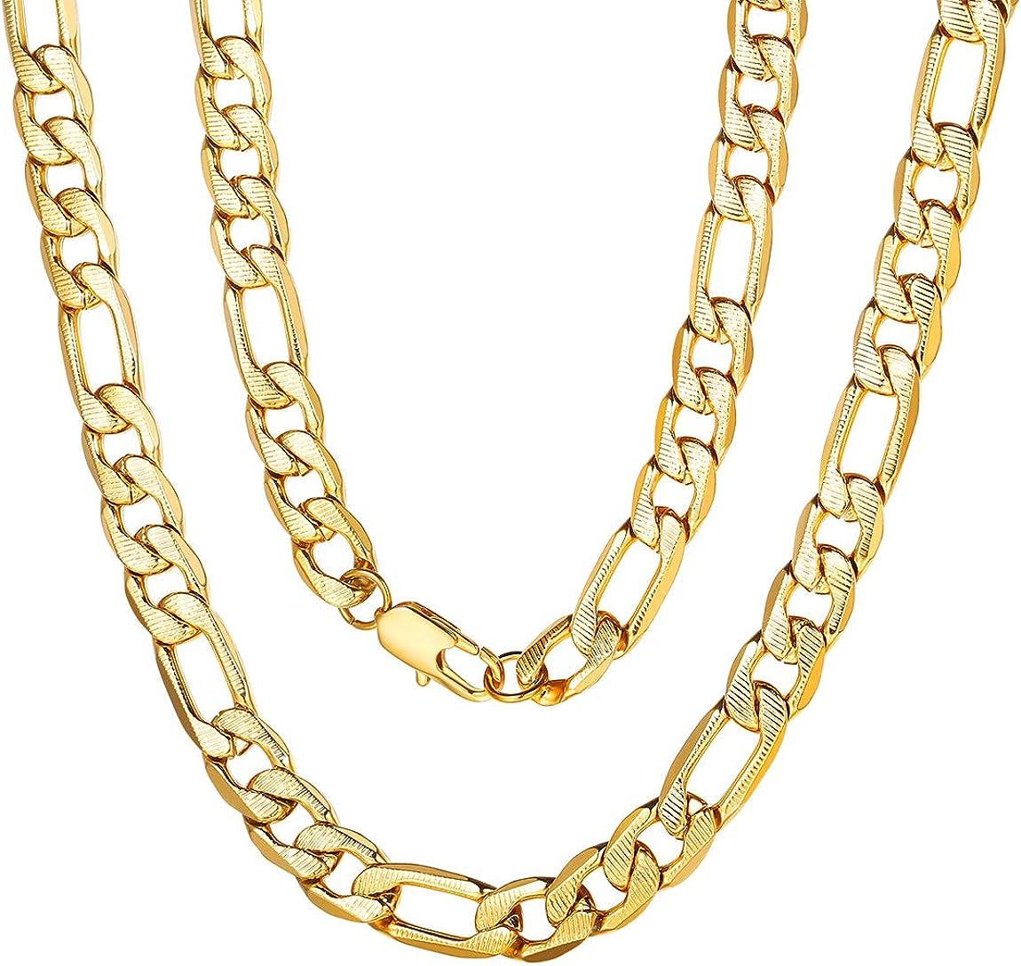 ChainsPro 6/7.5/9 MM Collar Fígaro 3:1, Cadena de Hombre y Mujer De Acero Inoxidable Dorado/Plateado/Negro, Joyería de Moda, 46-76CM/18-30 Pulgadas (Ofrecer Servicio Grabado)
