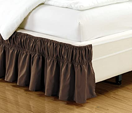 Amazon Com Wrap Around Style Brown Ruffled Solid Bed Skirt Fits
